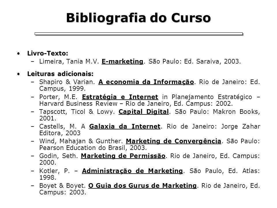 Bibliografia do Curso Livro-Texto:Livro-Texto: –Limeira, Tania M.V. E-marketing. São Paulo: Ed. Saraiva, 2003. Leituras adicionais:Leituras adicionais