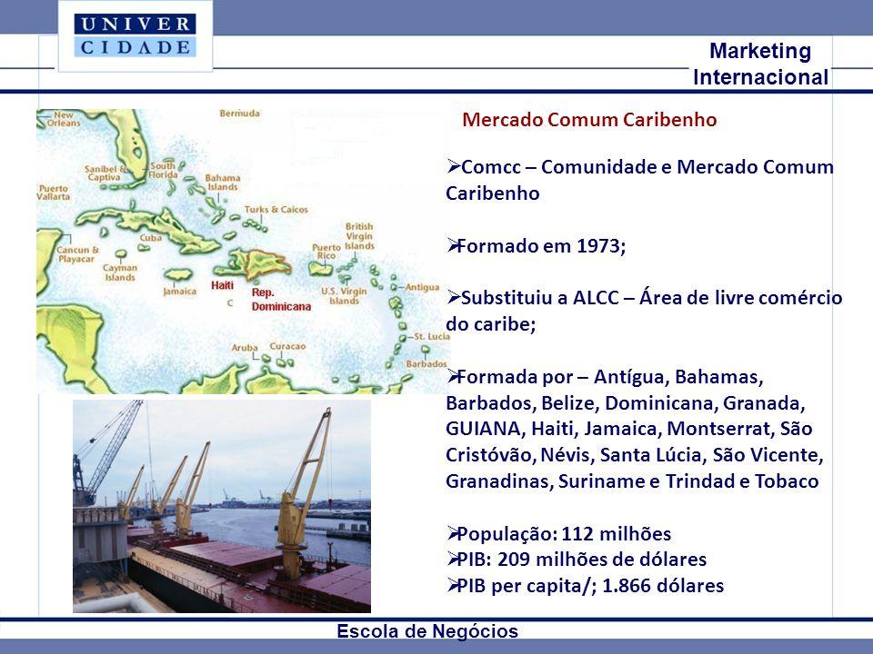 Mkt Internacional Marketing Internacional Escola de Negócios Comcc – Comunidade e Mercado Comum Caribenho Formado em 1973; Substituiu a ALCC – Área de