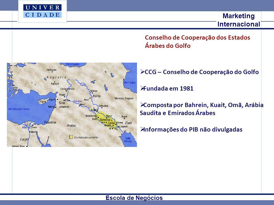 Mkt Internacional Marketing Internacional Escola de Negócios CCG – Conselho de Cooperação do Golfo Fundada em 1981 Composta por Bahrein, Kuait, Omã, Arábia Saudita e Emirados Árabes Informações do PIB não divulgadas Conselho de Cooperação dos Estados Árabes do Golfo