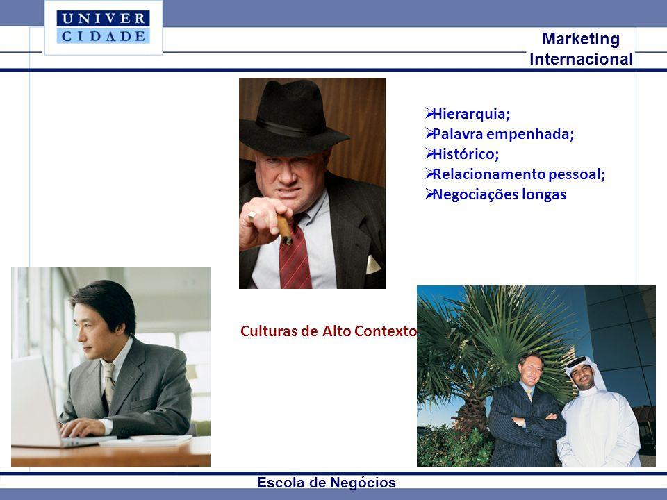 Mkt Internacional Marketing Internacional Escola de Negócios Culturas de Alto Contexto Hierarquia; Palavra empenhada; Histórico; Relacionamento pessoal; Negociações longas