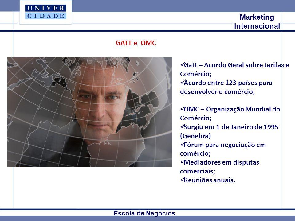 Mkt Internacional Marketing Internacional Escola de Negócios GATT e OMC Gatt – Acordo Geral sobre tarifas e Comércio; Acordo entre 123 países para des