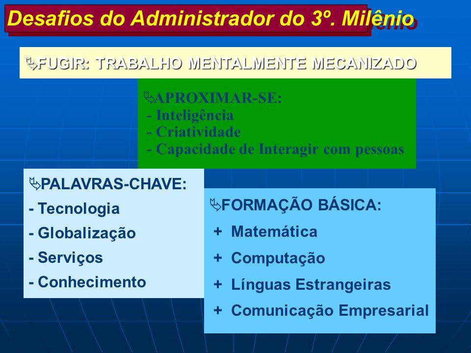PALAVRAS-CHAVE: - Tecnologia - Globalização - Serviços - Conhecimento FORMAÇÃO BÁSICA: + Matemática + Computação + Línguas Estrangeiras + Comunicação