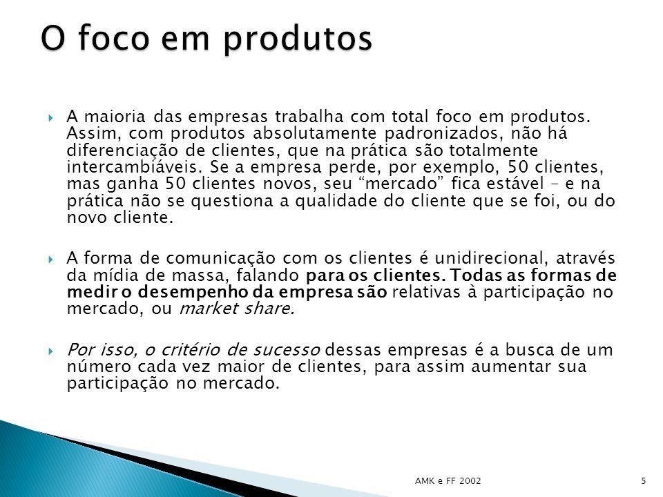 A maioria das empresas trabalha com total foco em produtos. Assim, com produtos absolutamente padronizados, não há diferenciação de clientes, que na p