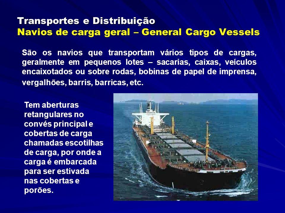 Transportes e Distribuição Transportes e Distribuição Navios de Carga Geral – General Cargo Vessels A carga é içada ou arriada do cais para bordo ou vice-versa pelo equipamento do navio (paus de carga e ou guindastes) ou pelo existente no porto.