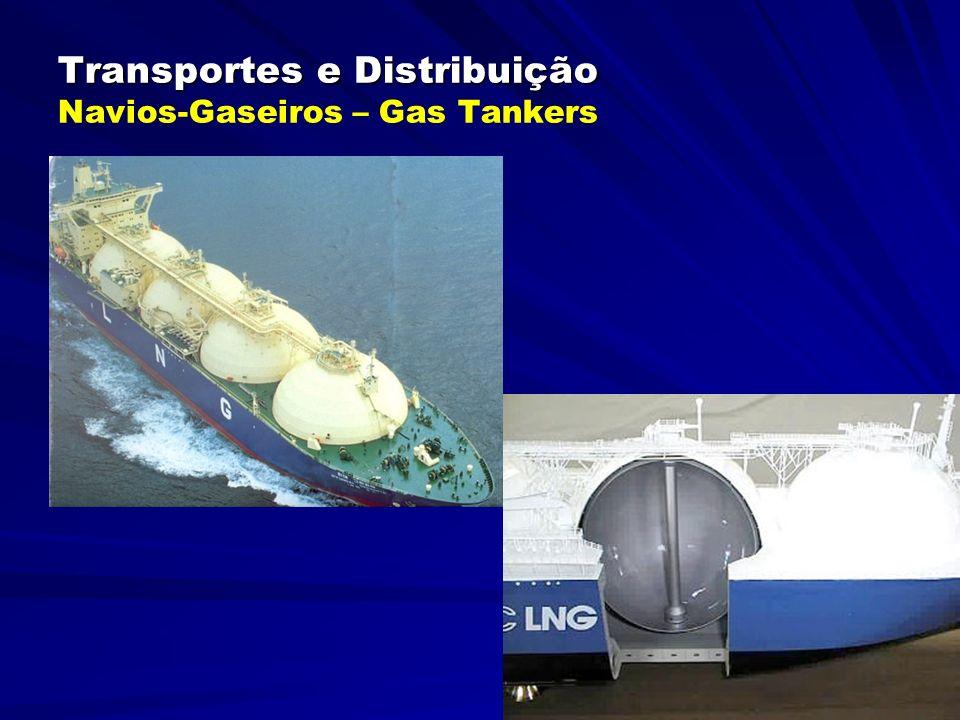 Transportes e Distribuição Transportes e Distribuição Navios-Químicos São os navios parecidos com os gaseiros, transportando cargas químicas especiais, tais como: enxofre líquido, ácido fosfórico, soda cáustica, etc.