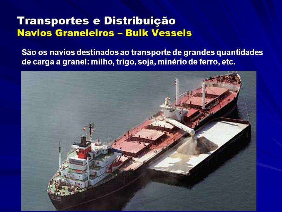 Transportes e Distribuição Transportes e Distribuição Navios Graneleiros – Bulk Vessels São os navios destinados ao transporte de grandes quantidades de carga a granel: milho, trigo, soja, minério de ferro, etc.