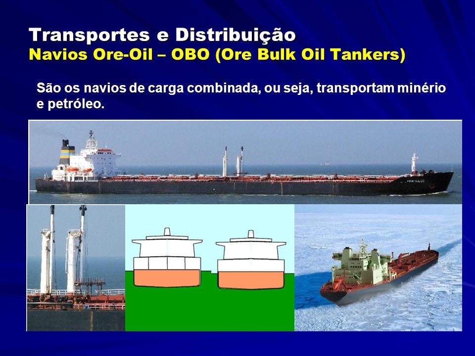Transportes e Distribuição Transportes e Distribuição Navios Ore-Oil – OBO (Ore Bulk Oil Tankers) São os navios de carga combinada, ou seja, transportam minério e petróleo.