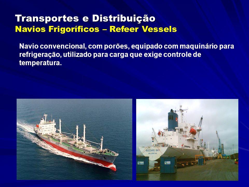Transportes e Distribuição Transportes e Distribuição Navios Frigoríficos – Refeer Vessels Navio convencional, com porões, equipado com maquinário para refrigeração, utilizado para carga que exige controle de temperatura.