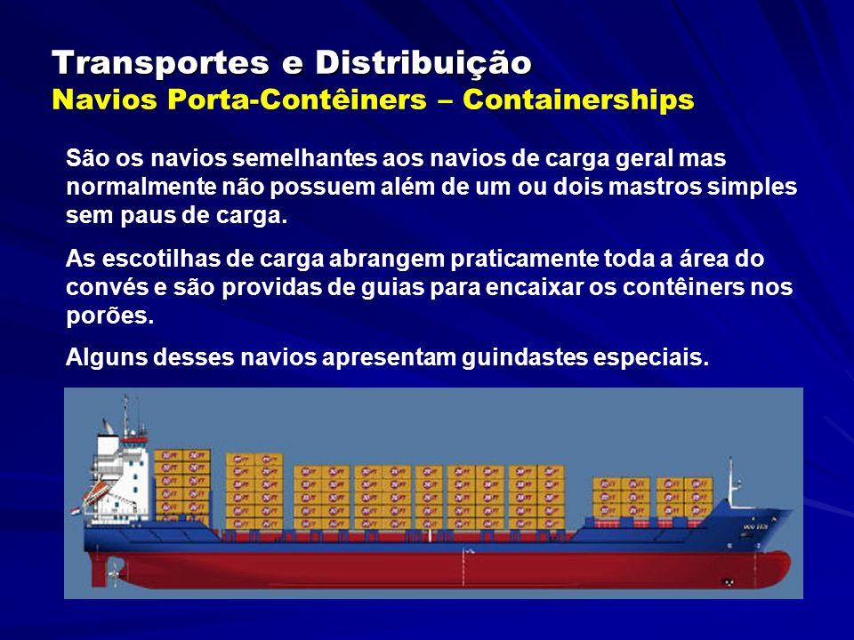 Transportes e Distribuição Transportes e Distribuição Navios Porta-Contêiners – Containerships São os navios semelhantes aos navios de carga geral mas normalmente não possuem além de um ou dois mastros simples sem paus de carga.