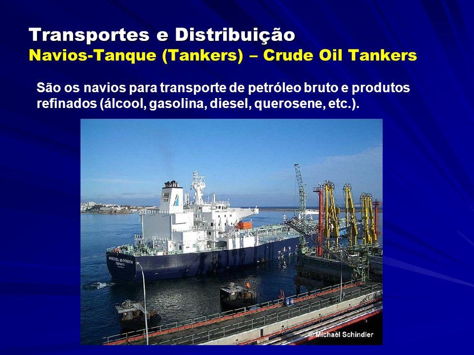 Transportes e Distribuição Transportes e Distribuição Navios-Tanque (Tankers) – Crude Oil Tankers São os navios para transporte de petróleo bruto e produtos refinados (álcool, gasolina, diesel, querosene, etc.).
