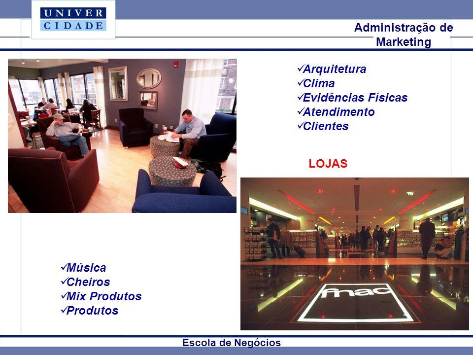 Mkt Internacional Escola de Negócios Administração de Marketing Arquitetura Clima Evidências Físicas Atendimento Clientes Música Cheiros Mix Produtos