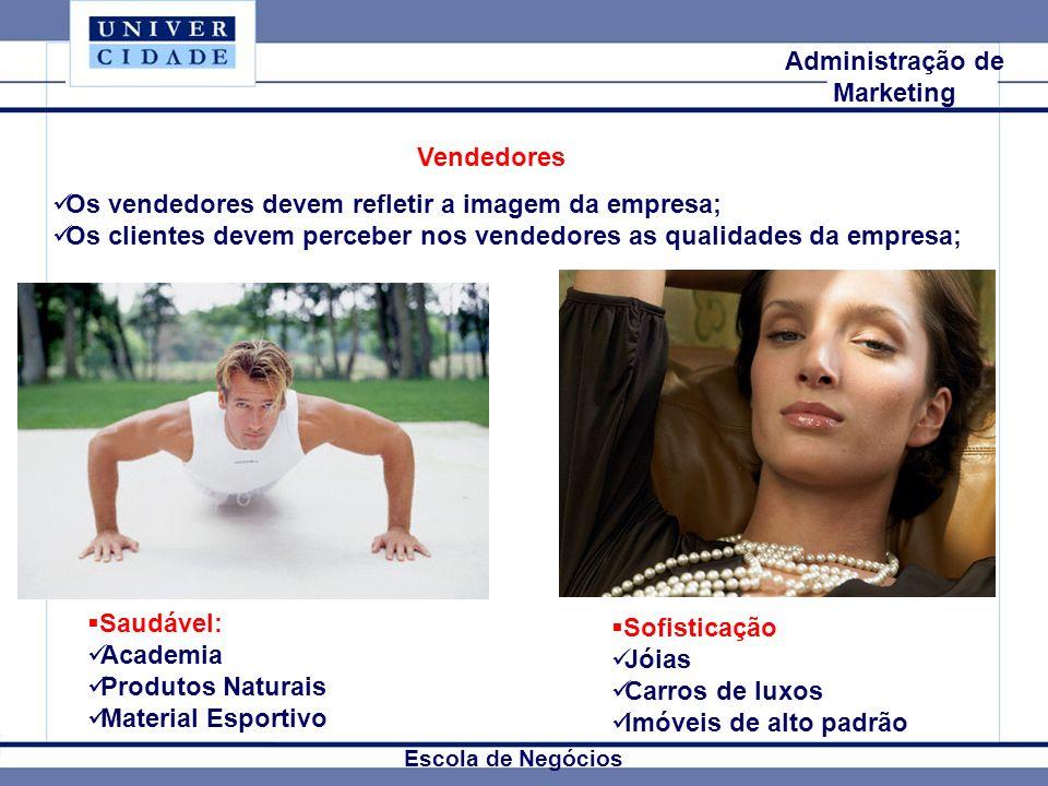Mkt Internacional Escola de Negócios Administração de Marketing Vendedores Os vendedores devem refletir a imagem da empresa; Os clientes devem percebe