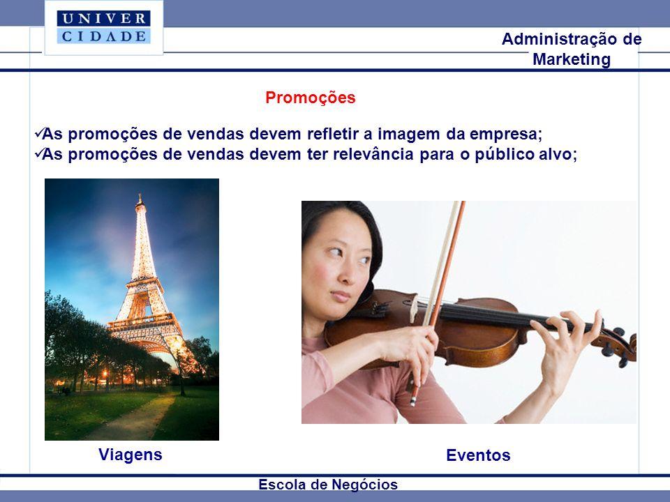 Mkt Internacional Escola de Negócios Administração de Marketing Viagens Eventos As promoções de vendas devem refletir a imagem da empresa; As promoçõe