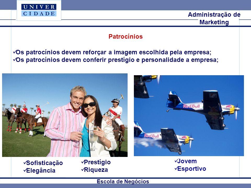 Mkt Internacional Escola de Negócios Administração de Marketing Patrocínios Os patrocínios devem reforçar a imagem escolhida pela empresa; Os patrocín