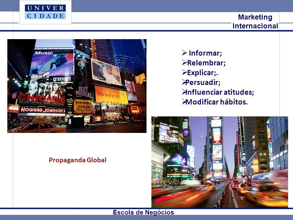 Mkt Internacional Marketing Internacional Escola de Negócios Informar; Relembrar; Explicar;. Persuadir; Influenciar atitudes; Modificar hábitos. Propa