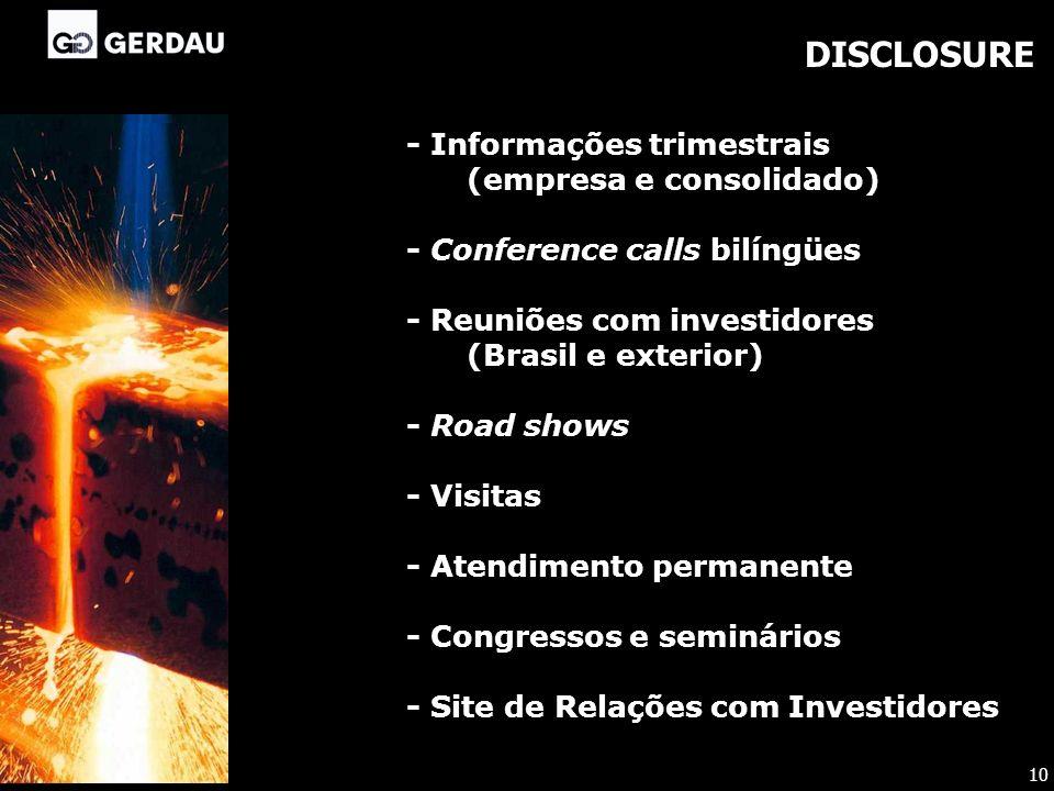 DISCLOSURE - Informações trimestrais (empresa e consolidado) - Conference calls bilíngües - Reuniões com investidores (Brasil e exterior) - Road shows