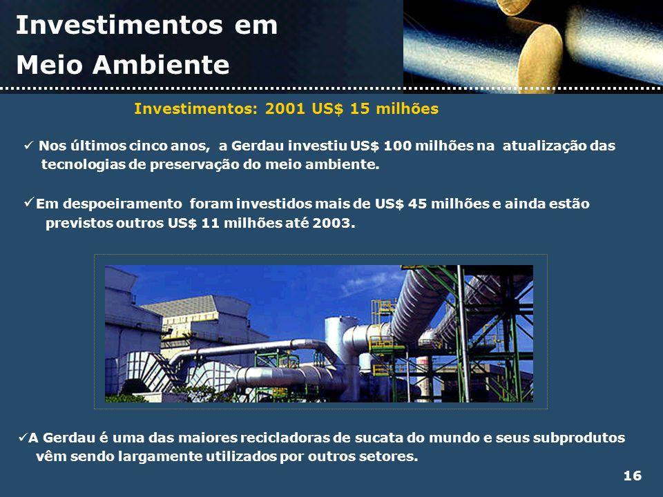 Investimentos em Meio Ambiente 16 Nos últimos cinco anos, a Gerdau investiu US$ 100 milhões na atualização das tecnologias de preservação do meio ambi