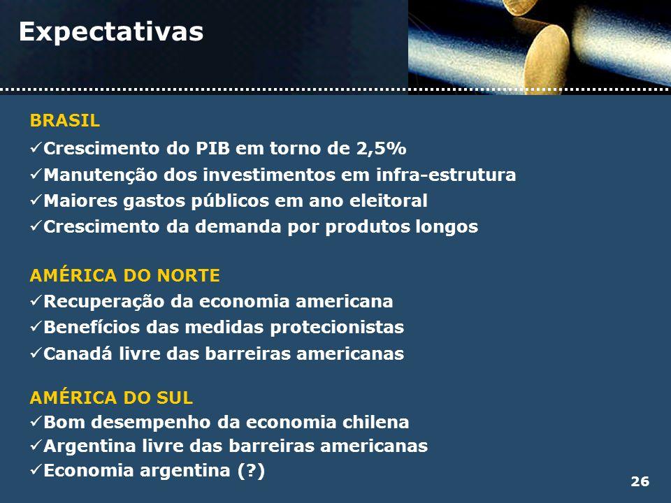 Expectativas BRASIL Crescimento do PIB em torno de 2,5% Manutenção dos investimentos em infra-estrutura Maiores gastos públicos em ano eleitoral Cresc