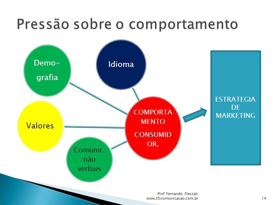 COMPORTA MENTO CONSUMID OR. Idioma Valores Comunic. não verbais Demo- grafia ESTRATEGIA DE MARKETING 14 Prof Fernando Flessati www.tfscomunicacao.com.