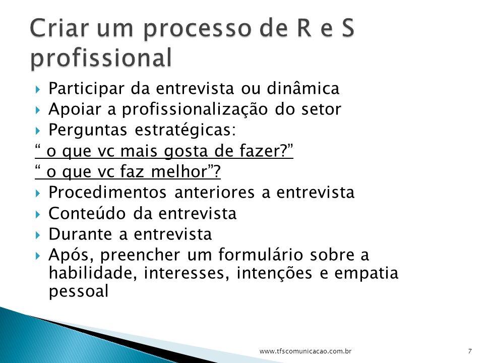Participar da entrevista ou dinâmica Apoiar a profissionalização do setor Perguntas estratégicas: o que vc mais gosta de fazer? o que vc faz melhor? P