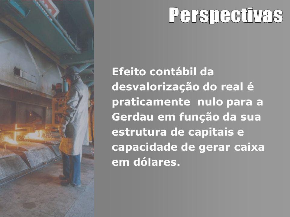 Efeito contábil da desvalorização do real é praticamente nulo para a Gerdau em função da sua estrutura de capitais e capacidade de gerar caixa em dólares.
