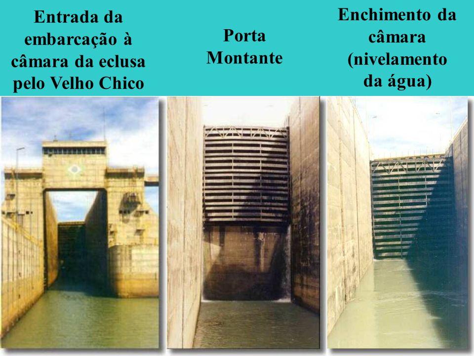 Entrada da embarcação à câmara da eclusa pelo Velho Chico Porta Montante Enchimento da câmara (nivelamento da água)
