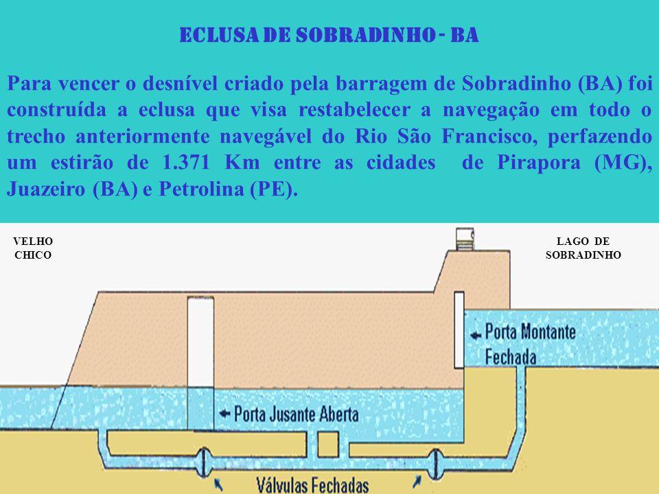 ECLUSA DE SOBRADINHO - BA Para vencer o desnível criado pela barragem de Sobradinho (BA) foi construída a eclusa que visa restabelecer a navegação em