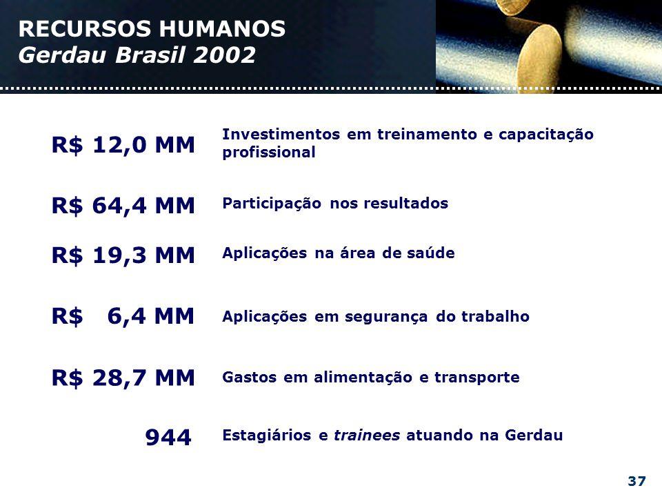 RECURSOS HUMANOS Gerdau Brasil 2002 Investimentos em treinamento e capacitação profissional R$ 12,0 MM Participação nos resultados R$ 64,4 MM Aplicações na área de saúde R$ 19,3 MM Aplicações em segurança do trabalho R$ 6,4 MM Gastos em alimentação e transporte R$ 28,7 MM Estagiários e trainees atuando na Gerdau 944 37