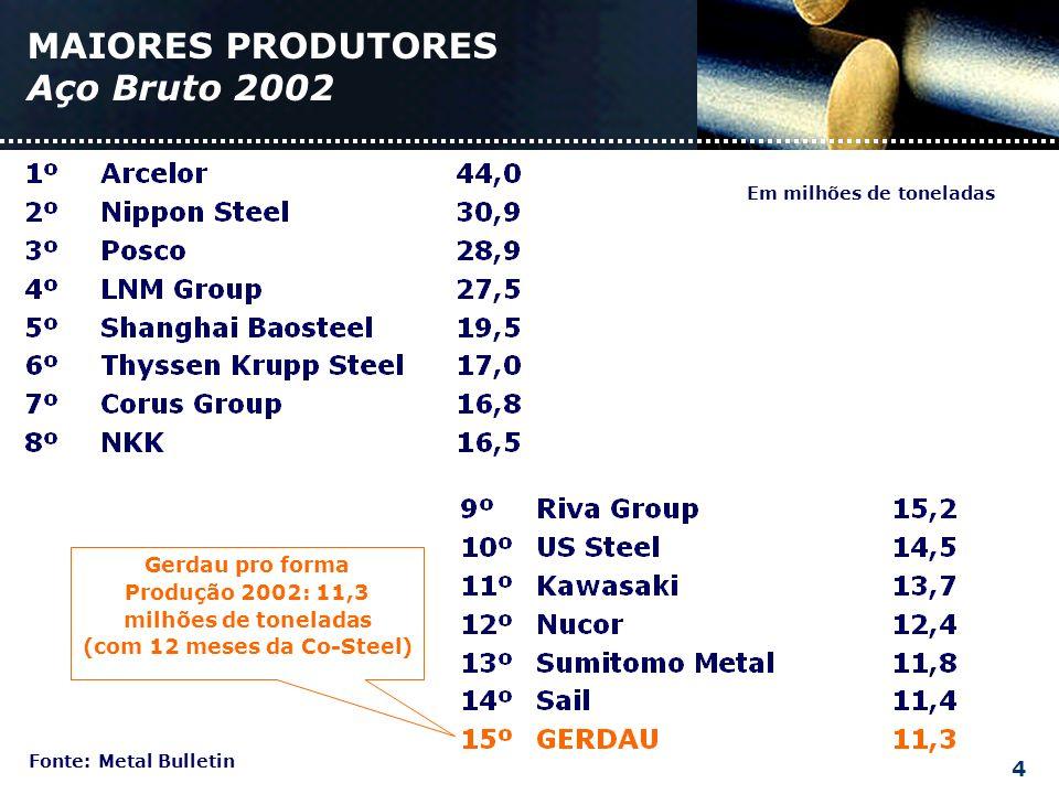 MAIORES PRODUTORES Aço Bruto 2002 Fonte: Metal Bulletin Em milhões de toneladas Gerdau pro forma Produção 2002: 11,3 milhões de toneladas (com 12 meses da Co-Steel) 4