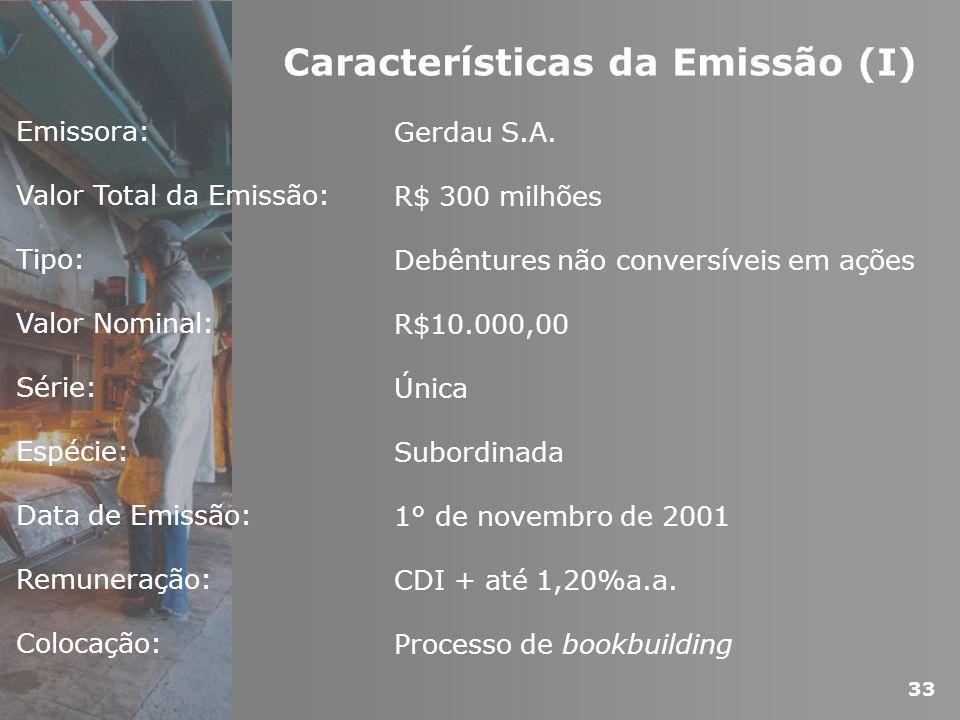 Emissora: Valor Total da Emissão: Tipo: Valor Nominal: Série: Espécie: Data de Emissão: Remuneração: Colocação: Gerdau S.A. R$ 300 milhões Debêntures