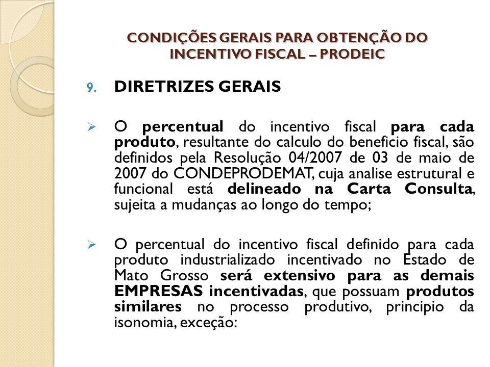 9. DIRETRIZES GERAIS O percentual do incentivo fiscal para cada produto, resultante do calculo do beneficio fiscal, são definidos pela Resolução 04/20