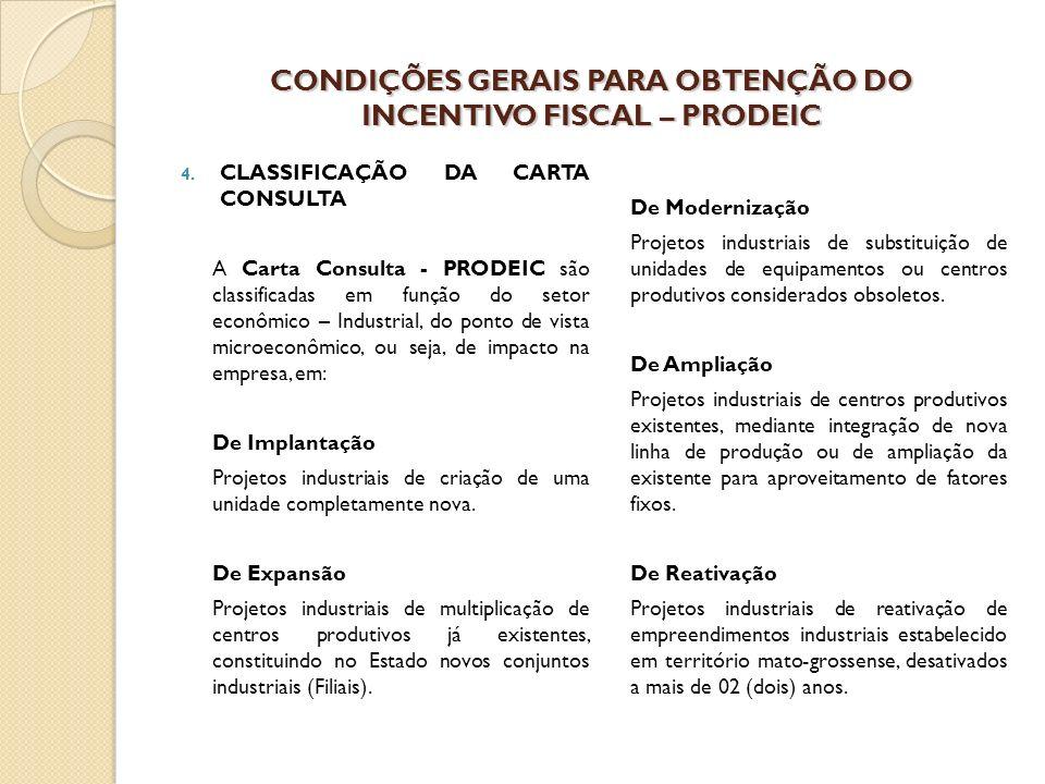 CONDIÇÕES GERAIS PARA OBTENÇÃO DO INCENTIVO FISCAL – PRODEIC 4.