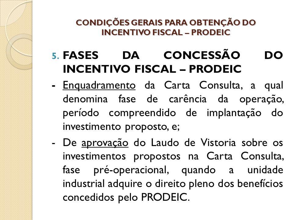 CONDIÇÕES GERAIS PARA OBTENÇÃO DO INCENTIVO FISCAL – PRODEIC 5.