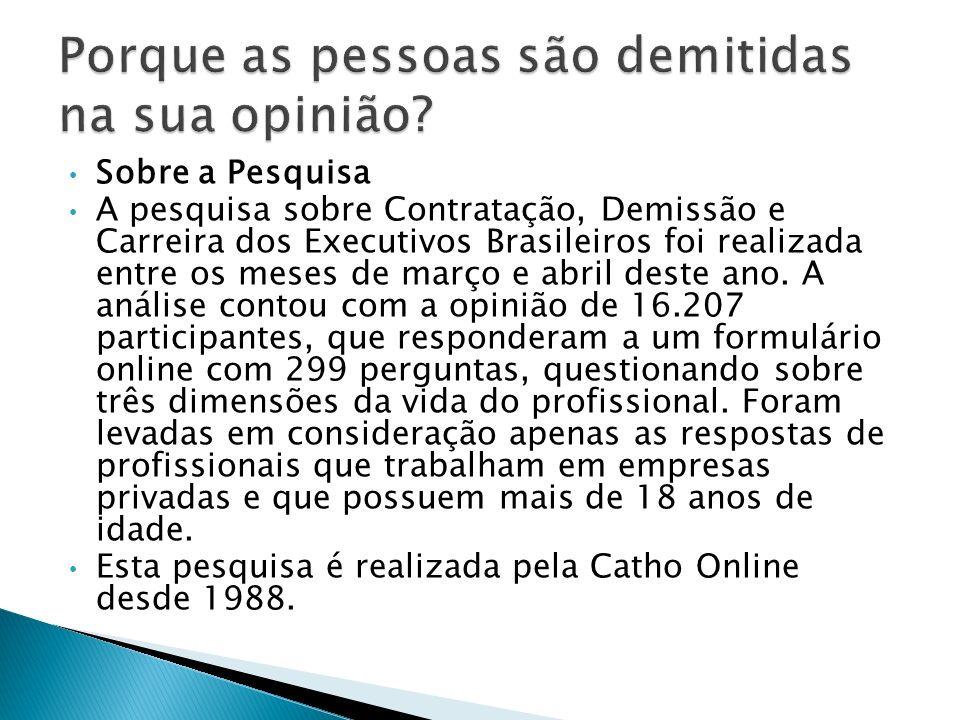 Sobre a Pesquisa A pesquisa sobre Contratação, Demissão e Carreira dos Executivos Brasileiros foi realizada entre os meses de março e abril deste ano.