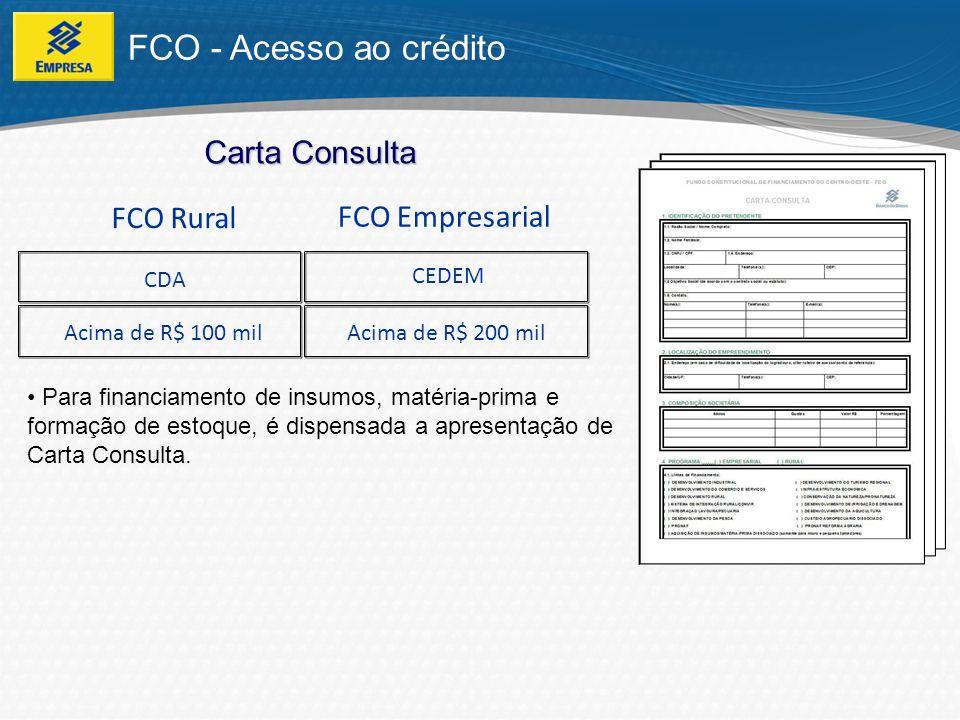 FCO - Porte do tomador É definido de acordo com o faturamento / Renda Bruta Anual (obtida ou prevista); Determina a taxa de juros; Determina o Limite Financiável, que também varia de acordo com a tipologia do município, definido na PNDR (Política Nacional de Desenvolvimento Regional).