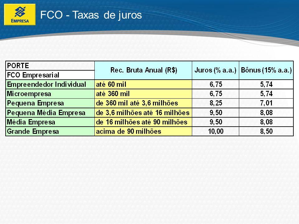 De acordo com o projeto, limitado ao estabelecido na Programação do FCO (de acordo com a finalidade e características do item financiado); FCO - Prazos de Pagamento Existem financiamentos com prazos, por exemplo, de até 12 anos, com carência de até 3 anos.