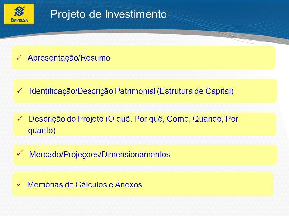 Recursos Próprios MercadoCapital de Giro Experiência Proposição compatível com a capacidade Pontos essenciais para análise de um projeto Projeto de Investimento