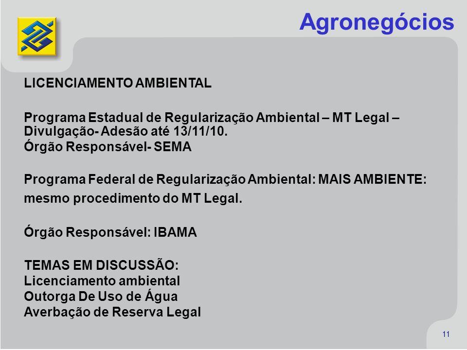11 11 LICENCIAMENTO AMBIENTAL Programa Estadual de Regularização Ambiental – MT Legal – Divulgação- Adesão até 13/11/10. Órgão Responsável- SEMA Progr
