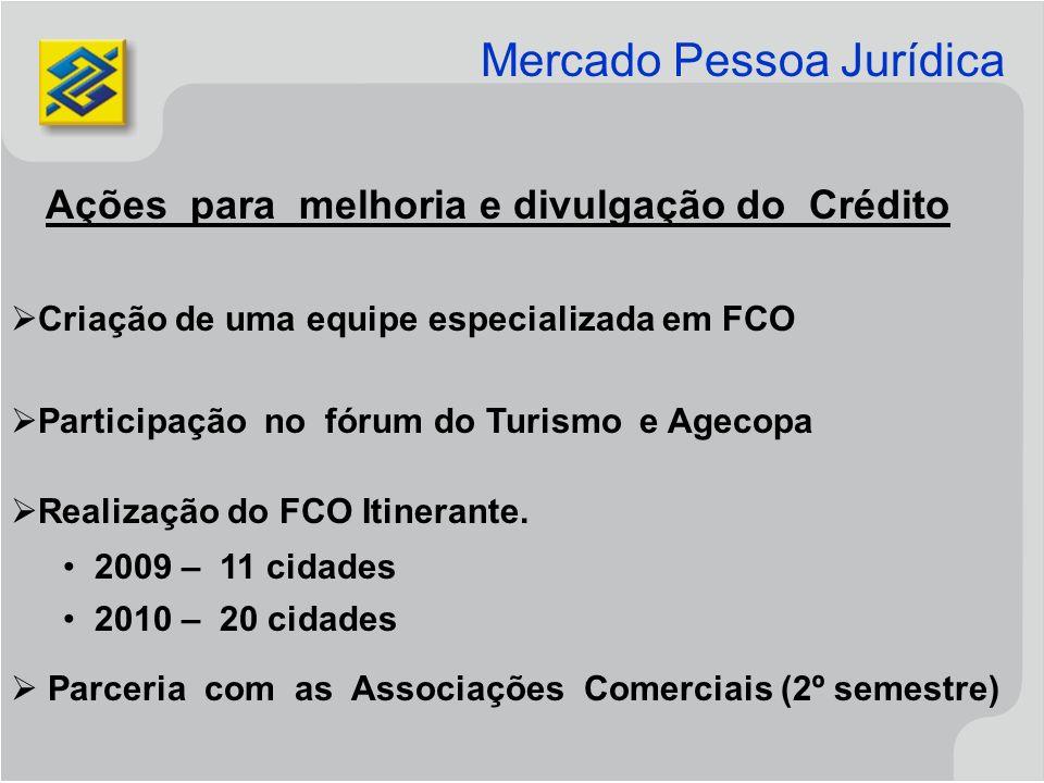 Ações para melhoria e divulgação do Crédito Criação de uma equipe especializada em FCO Participação no fórum do Turismo e Agecopa Realização do FCO Itinerante.