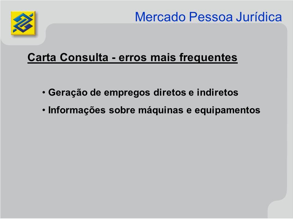 Carta Consulta - erros mais frequentes Geração de empregos diretos e indiretos Informações sobre máquinas e equipamentos Mercado Pessoa Jurídica