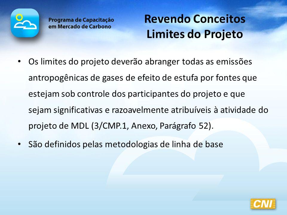 Revendo Conceitos Limites do Projeto Os limites do projeto deverão abranger todas as emissões antropogênicas de gases de efeito de estufa por fontes q