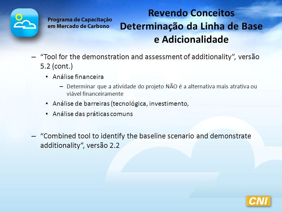 Revendo Conceitos Determinação da Linha de Base e Adicionalidade – Tool for the demonstration and assessment of additionality, versão 5.2 (cont.) Anál
