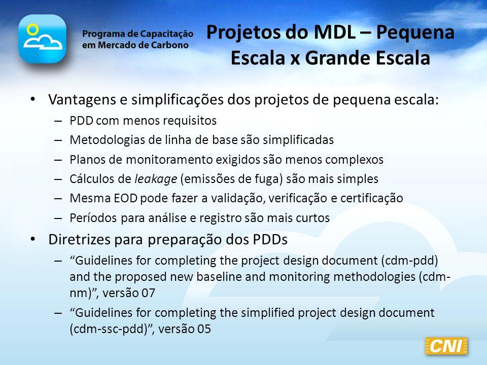 Projetos do MDL – Pequena Escala x Grande Escala Vantagens e simplificações dos projetos de pequena escala: – PDD com menos requisitos – Metodologias