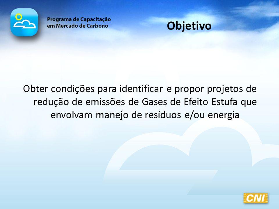 Objetivo Obter condições para identificar e propor projetos de redução de emissões de Gases de Efeito Estufa que envolvam manejo de resíduos e/ou ener