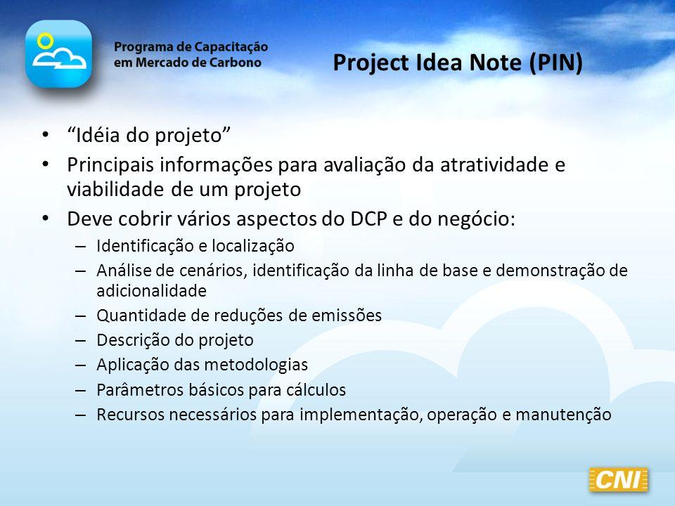 Project Idea Note (PIN) Idéia do projeto Principais informações para avaliação da atratividade e viabilidade de um projeto Deve cobrir vários aspectos