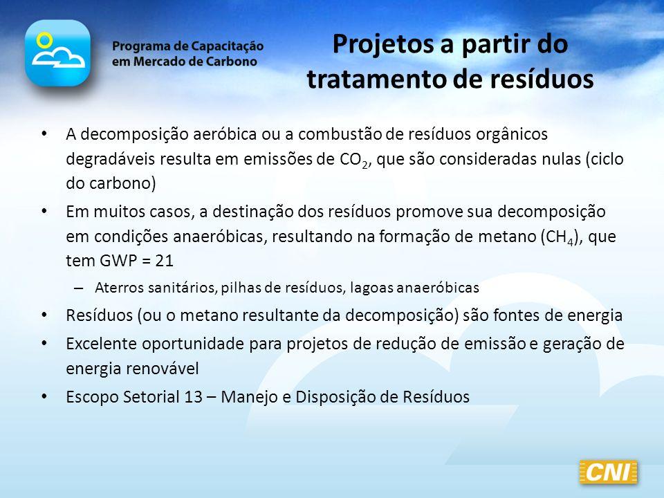 Projetos a partir do tratamento de resíduos A decomposição aeróbica ou a combustão de resíduos orgânicos degradáveis resulta em emissões de CO 2, que
