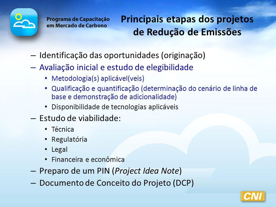 Principais etapas dos projetos de Redução de Emissões – Identificação das oportunidades (originação) – Avaliação inicial e estudo de elegibilidade Met