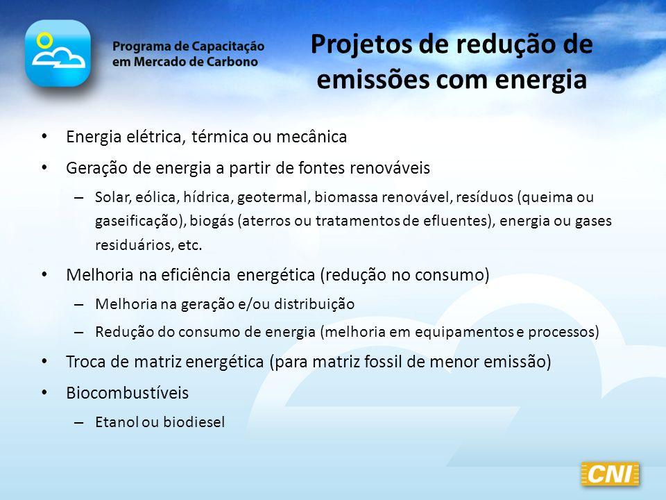 Projetos de redução de emissões com energia Energia elétrica, térmica ou mecânica Geração de energia a partir de fontes renováveis – Solar, eólica, hí
