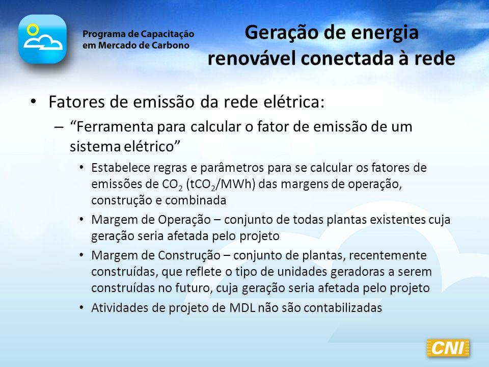Geração de energia renovável conectada à rede Fatores de emissão da rede elétrica: – Ferramenta para calcular o fator de emissão de um sistema elétric