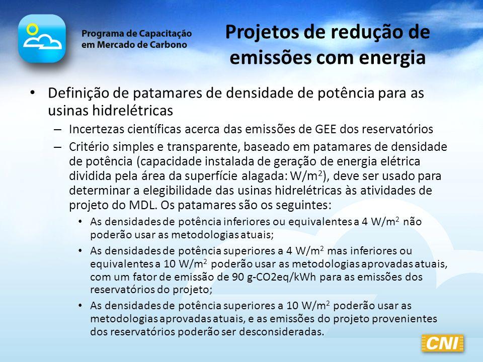 Projetos de redução de emissões com energia Definição de patamares de densidade de potência para as usinas hidrelétricas – Incertezas científicas acer